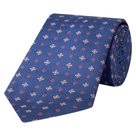 Blue and Pink Flower Circle Woven Silk Tie