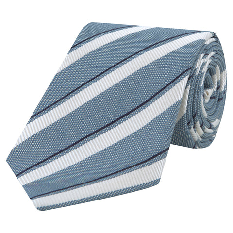 Blue and White Repe Hopsack Stripe Woven Tie