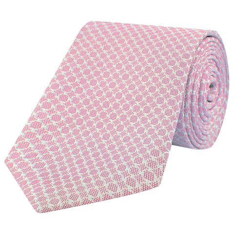 Pink Circle Grid Woven Silk Tie