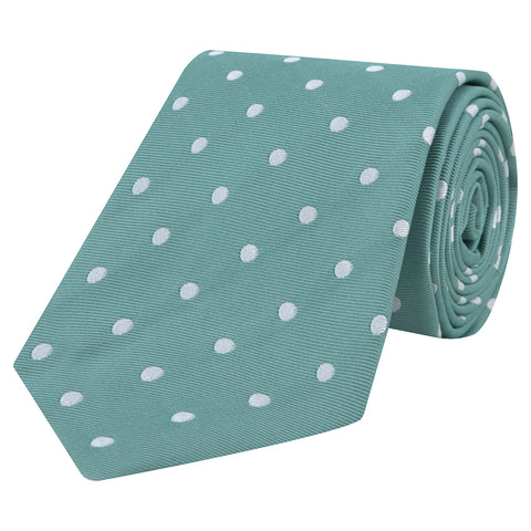 Green and White Spot Twill Woven Silk Tie