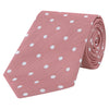 Pink and White Spot Twill Woven Silk Tie