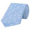 Blue and White Leaf Hopsack Woven Silk Tie