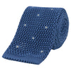 Blue and White Spot Heavy Gauge Knitted Silk Tie
