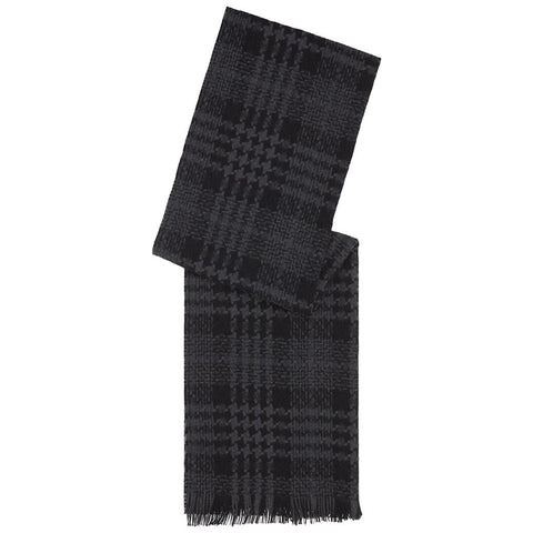 Black and Grey Houndstooth Jacquard Cashmere Scarf