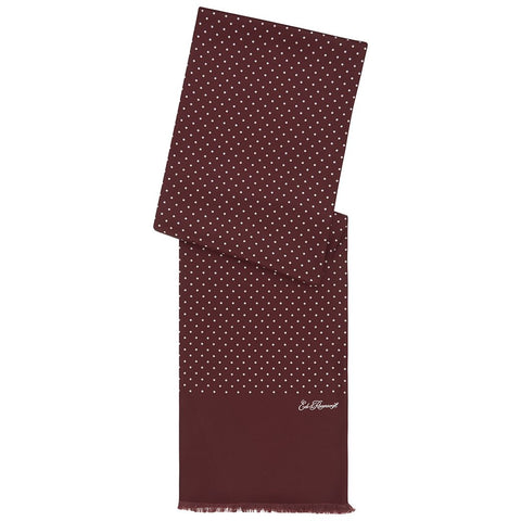 Burgundy and White Spot Printed Silk Scarf