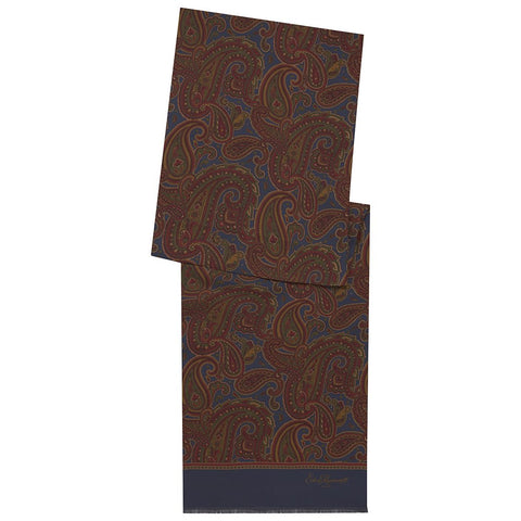 Blue and Red Paisley Silk Print Dresswear Scarf