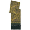 Ochre and Green Paisley Print Silk Madder Scarf