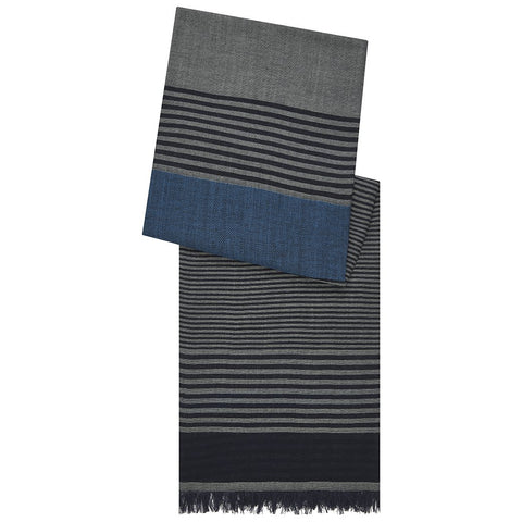Lightweight Grey and Navy Block Stripe Merino Wool Scarf