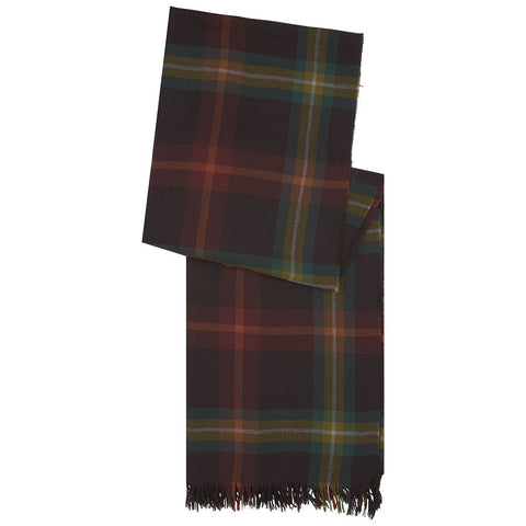 Burgundy and Ochre Tartan Cashmere Lightweight Scarf