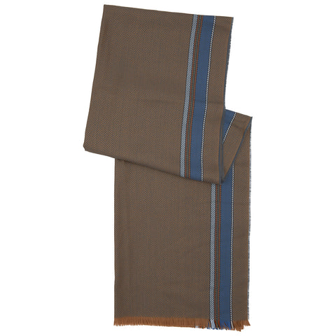 Camel and Blue Stripe Merino Wool Scarf