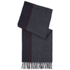 Charcoal and Navy Reversible Stripe Cashmere Scarf