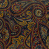 Navy and Yellow Large Medallion Paisley Printed Silk Cravat