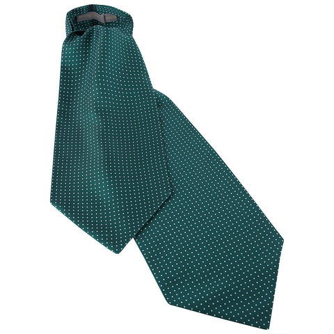 Dark Green Polka Dot Printed Silk Cravat