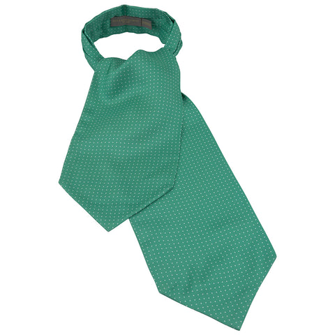 Green Polka Dot Printed Silk Cravat