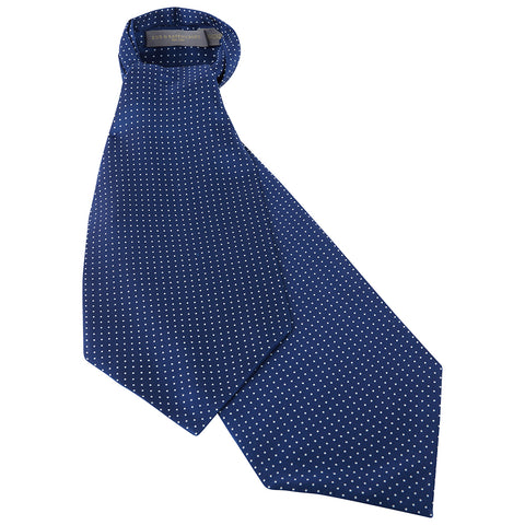 Navy Polka Dot Printed Silk Cravat