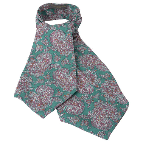 Green and Purple Abstract Paisley Printed Silk Cravat