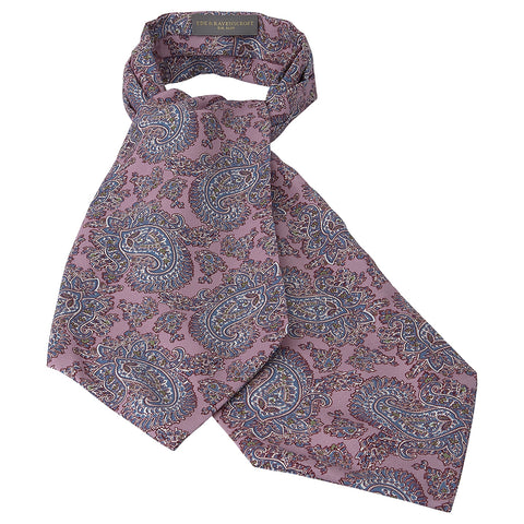Mauve and Blue Abstract Paisley Printed Silk Cravat