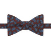 Burgundy and Grey Paisley Teardrop Print Silk Bow Tie