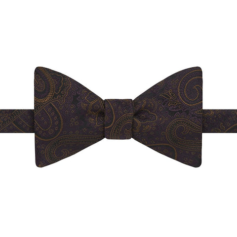 Purple and Orange Oversized Paisley Butterfly Silk Bow Tie