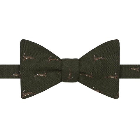 Green Novelty Rabbit Silk Wool Bow Tie