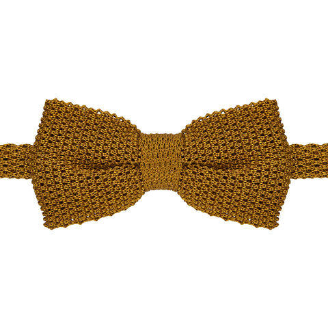 Yellow Knitted Pre-Tied Silk Bow Tie