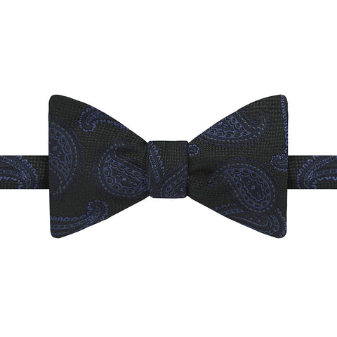 Green and Blue Paisley Textured Silk Bow Tie
