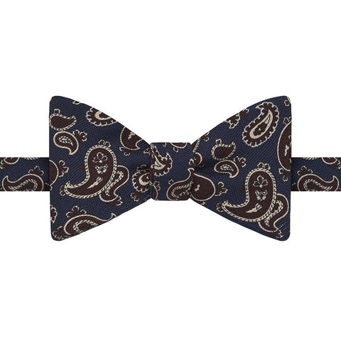 Navy and Burgundy Paisley Print Silk Bow Tie