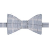 Blue and White Fine Check Twill Woven Silk Linen Self Tying Butterfly Bow Tie