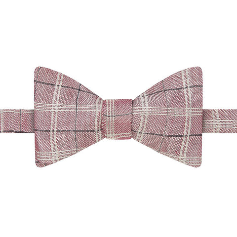 Pink and White Fine Check Twill Woven Silk Linen Self Tying Butterfly Bow Tie