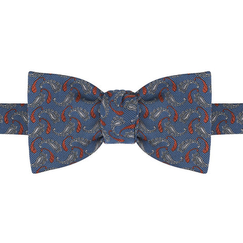 Blue and Red Paisley Woven Silk Butterfly Bow Tie