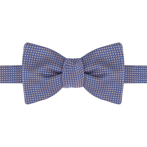 Blue and Pink Houndstooth Silk Bow Tie