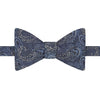 Blue Paisley Jacquard Woven Silk Self Tying Butterfly Bow Tie