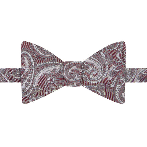 Red and White Large Paisley Jacquard Twill Bow Tie