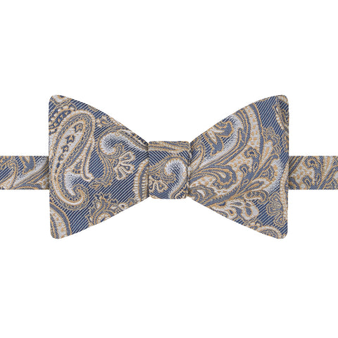 Yellow and White Large Paisley Jacquard Twill Bow Tie