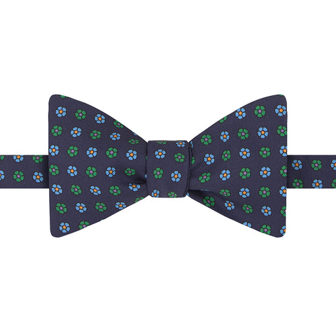 Navy and Green Large Floral Twill Printed Silk Butterfly Bow Tie