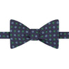 Navy and Green Large Floral Twill Printed Silk Bow Tie