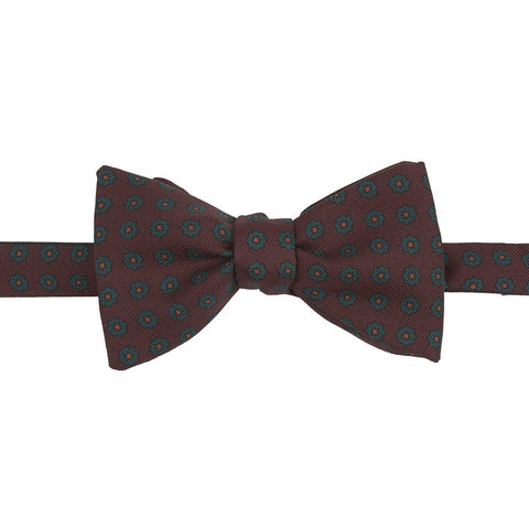 Brown and Green Flower Print Madder Silk Bow Tie