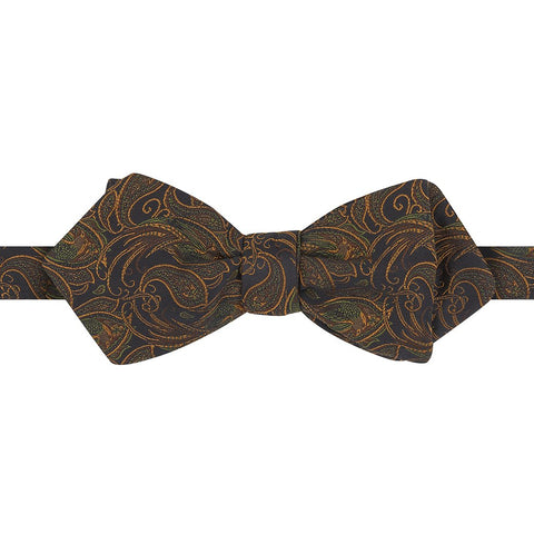 Black and Orange Paisley Bird Silk Diamond Bow Tie