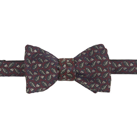 Red and Green Acorn Leaf Butterfly Bow Tie
