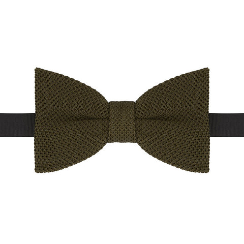 Light Green Fine Guage Knitted Pre-Tied Silk Bow Tie