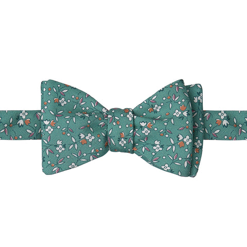 Green and Orange Ditsy Flower Printed Silk Butterly Bow Tie