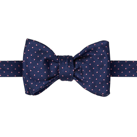 Navy and Pink Micro Spot Woven Silk Butterfly Bow Tie