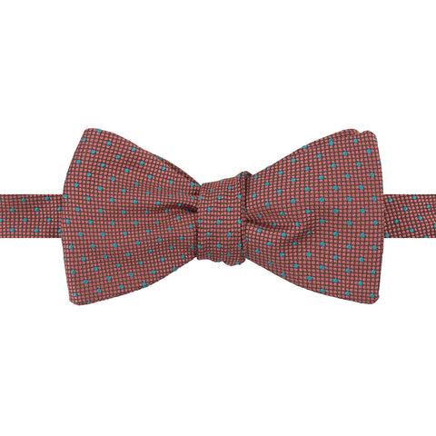 Pink and Mint Micro Spot Woven Silk Butterly Bow Tie
