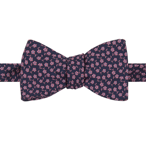 Navy and Pink Floral Woven Silk Butterfly Bow Tie