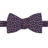 Navy and Pink Floral Woven Silk Diamond Bow Tie