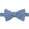 Pale Blue Bee Twill Woven Silk Butterfly Bow Tie