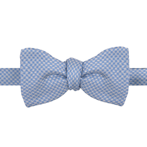 Blue and White Houndstooth Silk Butterfly Bow Tie