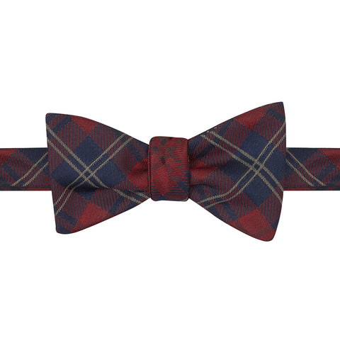 Red and Navy Tartan Woven Silk Butterfly Bow Tie
