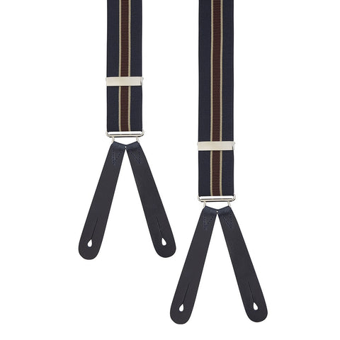 Navy and Burgundy Stripe Braces