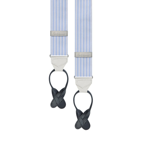 Blue And White Engineered Stripe Cotton Brace